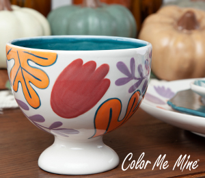 Eagan Floral Pedestal Bowl