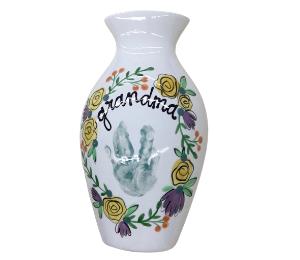 Eagan Floral Handprint Vase